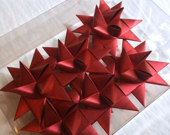 Moravian Paper Star Ornaments Red Satin (3 inch)