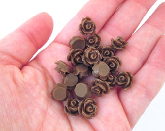 10mm Chocolate Brown Rose Cabochons, pick your amount