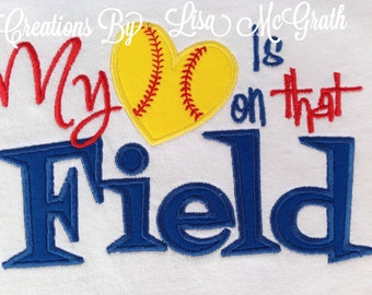 Custom Softball Baseball Mom T shirt My Heart Is On That Field