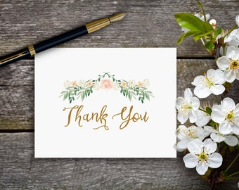 Vintage Inspired Romantic Folded Thank You Note Cards
