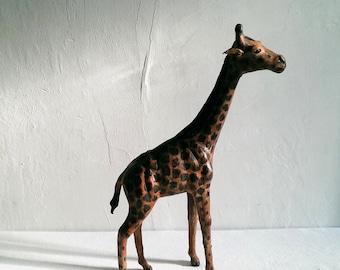 Large Vintage Handmade Leather Giraffe