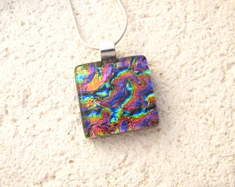 Petite Necklace,Dichroic Jewelry, Blue Pink Purple Gold Necklace, Fused Glass Jewelry, Dichroic Glass Pendant, Silver Necklace,  052516p102