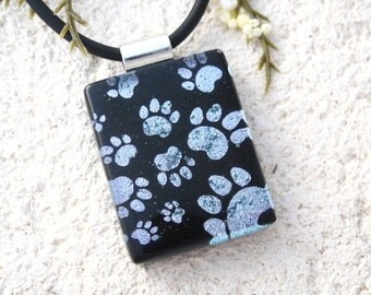 Petite Paw Prints Necklace, Dichroic Jewelry, Fused Glass Jewelry, Dichroic Pendant, Dog Paw , Cat Paw , Silver Black Necklace 102315p110