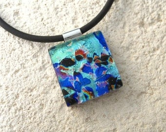 Petite Dichroic Jewelry, Dichroic Necklace, Rainbow Red Aqua Blue Necklace, Fused Glass Jewelry, Dichroic Pendant, Glass Jewelry, 010416p101
