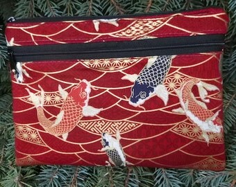 Japanese large clutch, optional wristlet or shoulder strap, diabetic supply case, Koi and Scallops in red, The Morning Glory