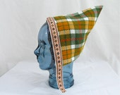 Toddler Pixie Hat in Harvest Plaid Reversible to Moss Green with Jacquard Trim - Children ages 1 to 3 years - Boys Pixie Hat, Girls Bonnet