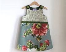 Cactus Flower Toddler Girls Party Dress Size 4T Girls Dress   Green Floral Geometric Toile with Flower Buttons   Winter Wedding Flowergirl