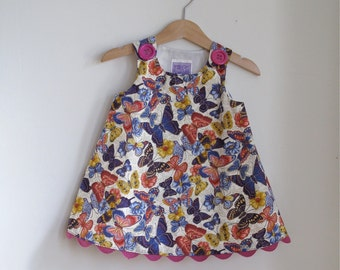Butterfly Toddler Girls Dress  - Children's Frock size 12 -18 Months - Purple, Red & Yellow Butterflies with Big Purple Buttons and Rickrack