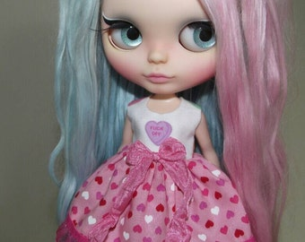 SALE Naughty Hearts dress for Blythe, Pullip doll