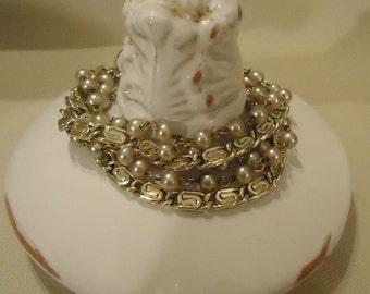 Vintage Gold and Cream Pearl Multi Strands Bracelet by Lisner