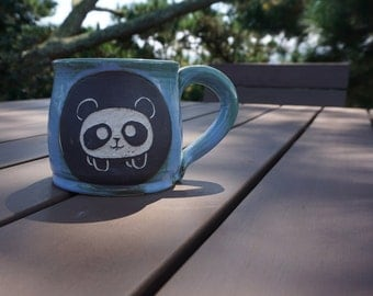 Happy Panda Sgrafitto Mug