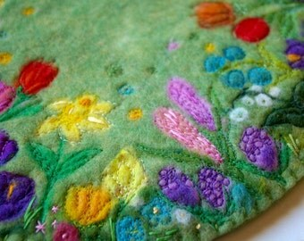 Spring Flowers Fiber Art, Large Felted Wool Mat or Wall Hanging for Spring (Nature Table or Home Decor)