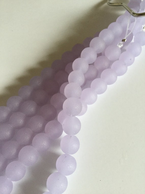 8mm sea glass bead purple cultured seaglass frosted