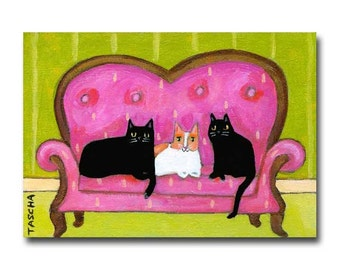 Cats on a Sofa Black cats and calico cat cute cat folk art ORIGINAL painting by Tascha
