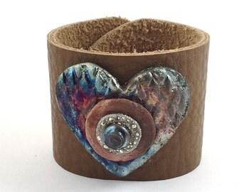 Raku Heart Leather Cuff Ceramic Jewelry Supply    Handmade by MAKUstudio