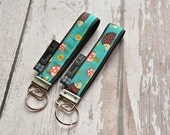 Key Fob Wristlet - Key Chain Wristlet  Fabric - Keyfob - Keychain - READY TO SHIP - Hedgehog Fabric