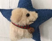 Golden Retriever Dog Breed Ornament, Vintage Wool & Faux Fur Star, Christmas Tree, Wall / Door Hanger, Bowl Filler
