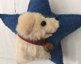 Golden Retriever Dog Breed Ornament, Vintage Wool & Faux Fur Star, Christmas Tree, Wall / Door Hanger, Bowl Filler