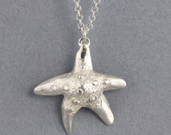 Sterling Silver Starfish Necklace - Silver Ocean Sea Creature Pendant - Small Drop Natural Pendant - Inexpensive Girl Gift - READY TO SHIP