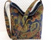 Paisley Hobo Bag Purse, Paisley Handbag, Navy Blue Paisley Sling Purse, Handmade Ladies Handbag, Paisley Pocketbook, Handmade Gift Under 50