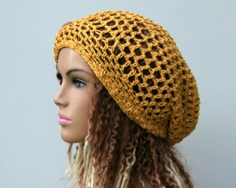 Yellow slouchy hat, Bamboo and Silk hat, Summer slouchy beanie hat, small dread hippie hat, snood tam hat, women crochet slouch hat