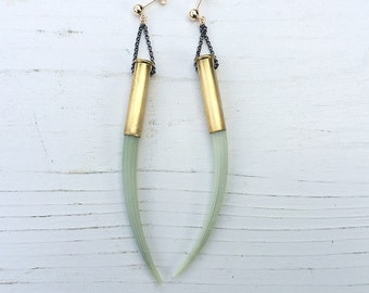 amazing Dentalium tusk bullet earrings | statement earrings | gold filled earrings | sterling silver earrings