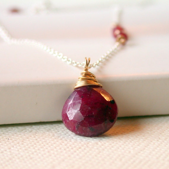 Ruby Pendant Necklace. Faceted Ruby Pendant. Birthstone Pendant Necklace. July Birthstone Necklace.