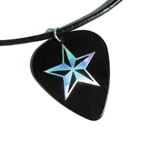 black & silver nautical star guitar pick necklace,  hot foil stamped