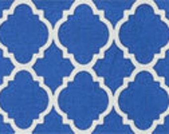 Blue Quatrefoil Crib Skirt - Your Choice Pleated or Straight - Your Choice Navy, Royal or Light Blue