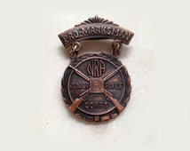 Vintage NRA Junior Rifle Corps Pro Marksman Medal, Brass, 1960s