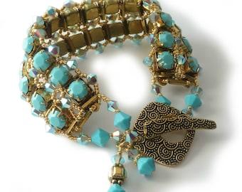 Turquoise Rhinestone Bracelet, Small Size, Gold Bracelet, Swarovski Crystals, Beadweaving, Original Design, Beaded Jewelry, Beaded Bracelet