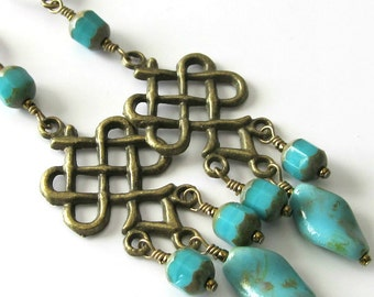 Turquoise Chandelier Earrings, Antique Brass, Turquoise Glass Beads, Picasso Finish, Long Beaded Earrings, Beaded Jewelry