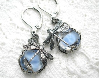 Sapphire Blue Glass Jewel Dragonfly Earrings in Antiqued Silver