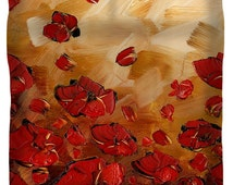 Modern Floral Duvet Cover - king queen full twin duvet covers in golden brown & red poppies art bedroom home decor by Susanna