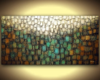Canvas PRINT Abstract Blue Brown Green Art Giclee Wall Art Home Decor Gold White Modern Contemporary Art by Susanna