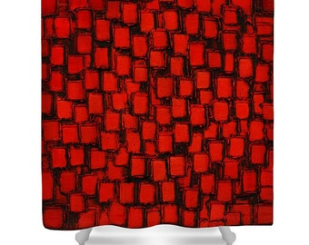 Shower Curtain- red black shower curtain art