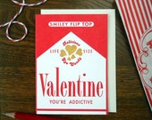 letterpress valentine candy cigarettes greeting card you're addictive smoking smoker pack of cigarettes
