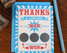 letterpress thanks a million scratch off ticket greeting card lotto gambling win thank you note gratitude scratch off