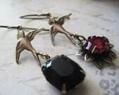 Jewel Earrings, Asymetrical Earrings, Black Crystal, Fushia Flower, Vintage Jewels, Brass Bird, Vintaj Brass, candies64