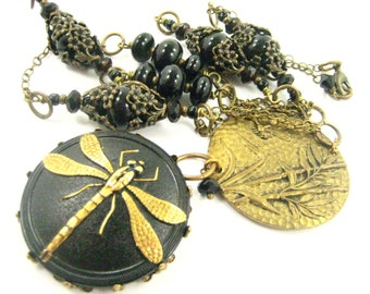 Dragonfly Marsh ... Black ... Victorian Dragonfly Glass Button and Onyx Necklace