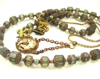 Grey Windows ... Steampunk Victorian Watch Movement and Glass Window Bead One of a Kind Creation