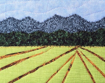 Fabric Postcard, Quilted Postcard, Country Landscape, Quilted Greeting Card, Postcard Art,Farm Landscape,Handmade Quilt Postcard