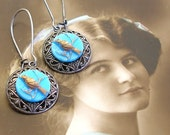 1940s BIRD BUTTON earrings, Vintage blue glass with gold on silver, button jewellery.