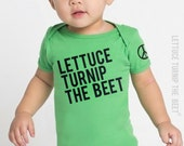 lettuce turnip the beet ® trademark brand OFFICIAL SITE - green or brown cotton bodysuit - seen in Pregnancy and Newborn magazine