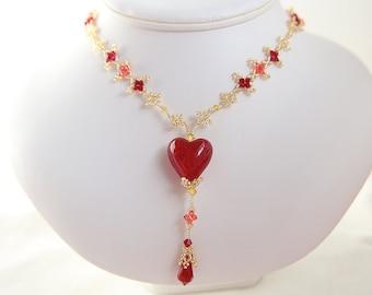 Murano - Venetian glass red heart charm necklace