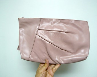 80s pink leather clutch / wristlet . large