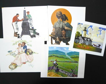 SALE!!!  Normal Rockwell and Jayson Sparkin . assorted prints from 1980's calendar and books . lot of 5