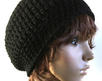 Slouchy Beanie in Jet Black