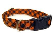 Halloween Gingham - Orange Black Plaid Fall Autumn Organic Cotton CAT Collar Breakaway Safety - All Antique Brass Hardware