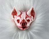 Albino Vampire Bat Resin Pin